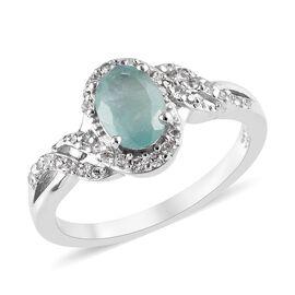 1 Carat Grandidierite amd Zircon Halo Design Ring in Platinum Plated Silver