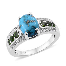 2.25 Ct Persian Turquoise, Zircon and Russian Diopside Solitaire Design Ring in Sterling Silver