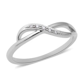 ELANZA Simulated Diamond Infinity Ring in Rhodium Overlay Sterling Silver