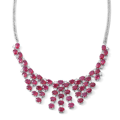 African Ruby (Ovl), White Topaz Necklace (Size 18) in Rhodium Plated Sterling Silver 58.000 Ct. Silv