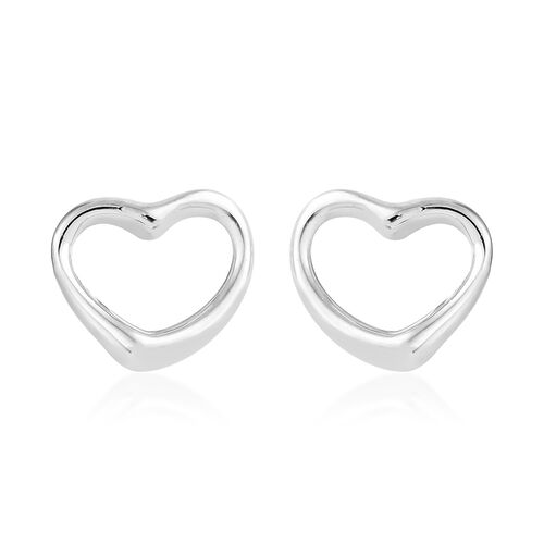 RHAPSODY 950 Platinum Open Heart Stud Earrings (with Screw Back), Platinum wt 2.08 Gms.