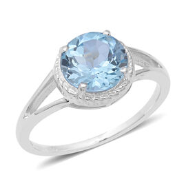 Sky Blue Topaz (Rnd) Solitaire Ring in Sterling Silver 3.250 Ct.