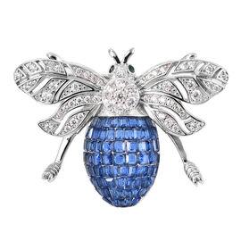 Lustro Stella - Simulated Blue Sapphire, Simulated Diamond and Simulated Emerald Pendant or Brooch i