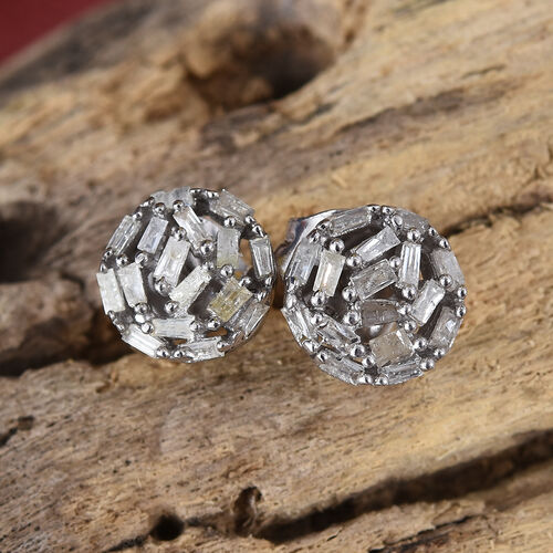 Diamond (Bgt) Stud Earrings (with Push Back) in Platinum Overlay Sterling Silver 0.345 Ct.