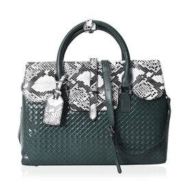 100% Genuine Leather Black and White Snake Skin Pattern Tote Bag(Size 36x10.5x25 Cm) with Detachable