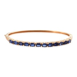 7.5 Ct Himalayan Kyanite and Diamond Bangle in Sterling Silver 12.19 Grams 7.5 Inch