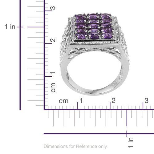 Uruguay Amethyst (Rnd) Ring in Platinum Overlay Sterling Silver 3.500 Ct.
