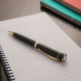 Ball Pen with Swarovski Crystal on Top - Black & Gold