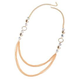 Simulated Mystic Mercury Topaz (Sqr) Necklace (Size 35 with 2 inch Extender) in Gold Tone