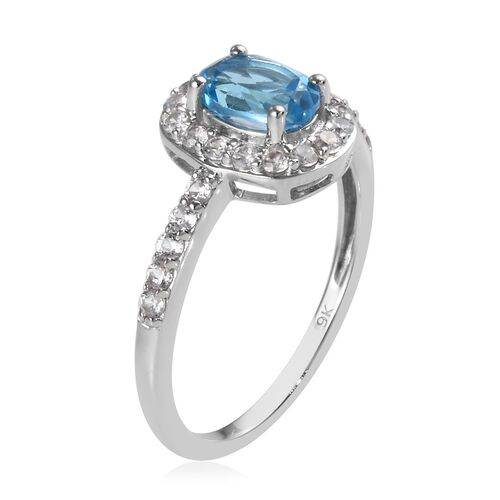 9K White Gold AA Swiss Blue Topaz (Ovl 7x5mm), Natural Cambodian Zircon Ring 1.34 Ct.