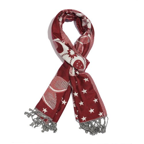 Red and White Colour Stars and Floral Pattern Reversible Scarf with Tassels (Size 180X70 Cm)