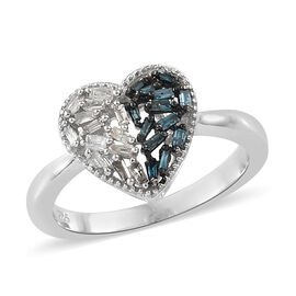 Blue and White Diamond (Bgt) Heart Ring in Platinum Overlay Sterling Silver 0.250 Ct.