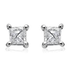 RHAPSODY 950 Platinum IGI Certified Diamond (Sqr) (VS/F) Stud Earrings (with Screw Back) 0.250 Ct.