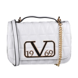 19V69 ITALIA by Alessandro Versace Quilted Pattern Crossbody Bag with Detachable Chain Strap (Size 22x14x8Cm) - White