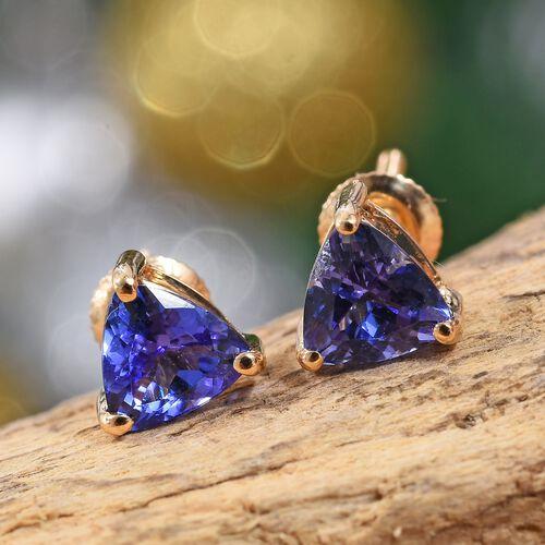 ILIANA 18K Yellow Gold AAA Tanzanite (Trl) Stud Earrings (with Screw Back) 1.25 Ct.