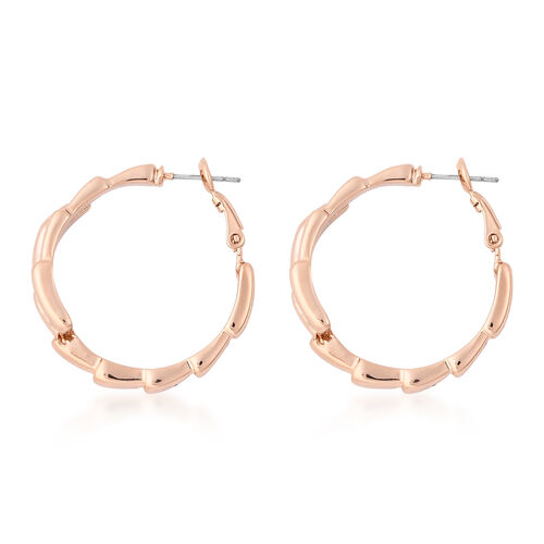 Crossover Hoop Earrings (with Clasp Lock) in Yellow Gold Tone