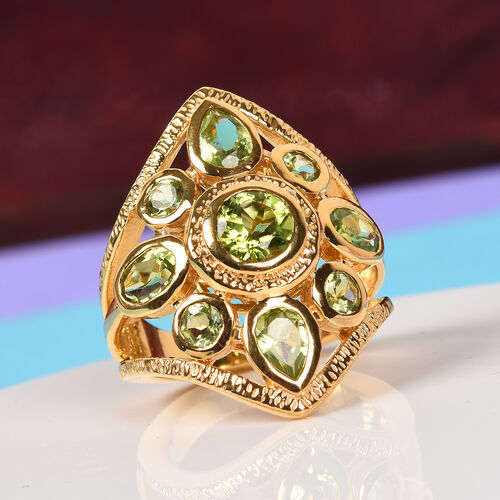 Hebei Peridot Ring in 14K Gold Overlay Sterling Silver 4.40 Ct, Silver wt 7.80 Gms