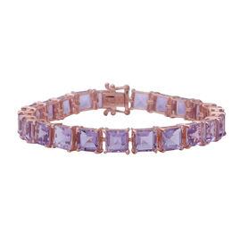 Rose De France Amethyst (Princess Cut) Bracelet (Size 8) in Rose Gold Overlay Sterling Silver 37.00