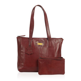 2 Piece Set - Super Soft 100% Genuine Leather Sausage Dog Logo Red Tote bag with Matching RFID Purse (32x26x12cm)
