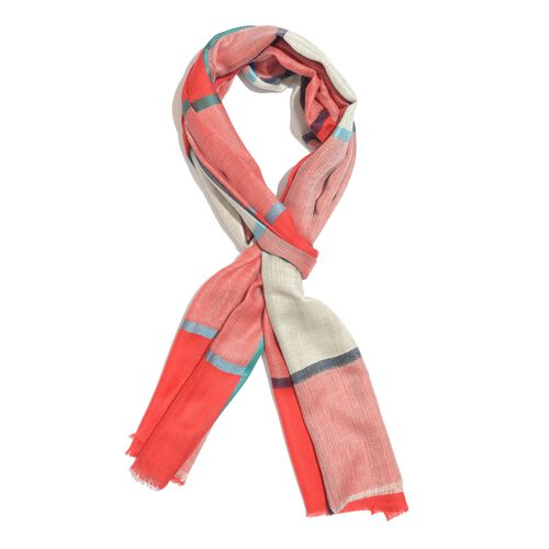 100% Cashmere Wool Red, White and Multi Colour Checks Pattern Scarf (Size 200x70 Cm)