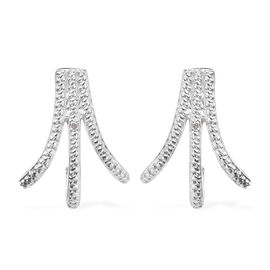 Diamond Earrings (with Push Back) in Platinum Overlay Sterling Silver