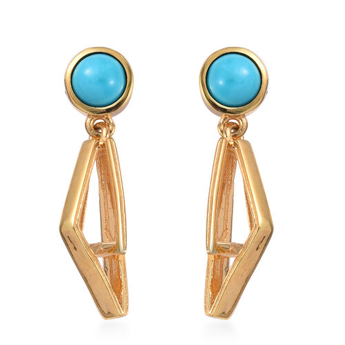 Arizona Sleeping Beauty Turquoise Earrings (with Push Back) in 14K Gold Overlay Sterling Silver 1.25