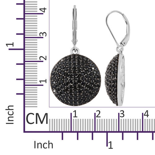 Boi Ploi Black Spinel (Rnd) Earrings (with Lever Back) in Platinum Overlay with Black Plating Sterling Silver 5.000 Ct, Silver wt 8.20 Gms.