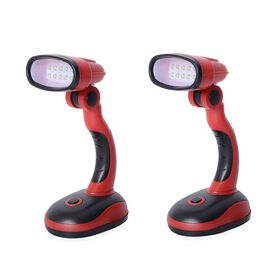 2 Piece Set- Red and Black Colour Flexible Desk Lamp with LED Light