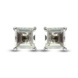 Prasiolite Solitaire Stud Push Post Earring in Platinum Overlay Sterling Silver 2.50 ct  2.500  Ct.