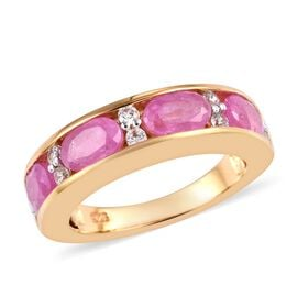 Ilakaka Hot Pink Sapphire (Ovl 6x4 mm), Natural Cambodian Zircon Half Eternity Band Ring in 14K Gold