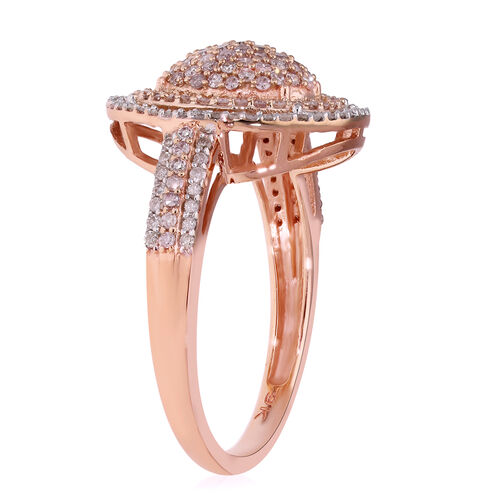 9K Rose Gold Natural White and Pink Diamond Ring 1.00 Ct.