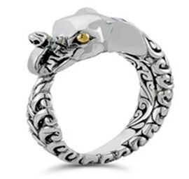 Royal Bali Collection Mozambique Garnet Elephant Ring in Sterling Silver