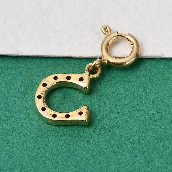 Sundays Child - 14K Gold Overlay Sterling Silver Horseshoe Charm