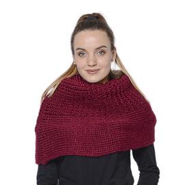 Solid Burgundy Infinity Knit Scarf (Size 32x70cm)