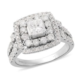 1.75 Ct Diamond Cluster Ring in 14K White Gold 5.80 Grams I1 I2 GH