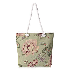 Beige and Multicolour Floral Pattern Tote Bag (Size 43x35x11x39 Cm) with Zipper Closure