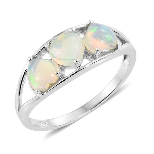 Ethiopian Welo Opal (Hrt) Trilogy Ring in Platinum Overlay Sterling Silver 1.250 Ct.