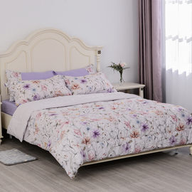 Serenity Night Comforter Set of 6 - Comforter Fitted Sheet and Pillow Cases  and Envelope Pillow Case (2Pcs) in Cream Color and Lilac Floral Print