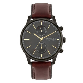 Joules Gents Watch with Brushed Gun Sunray Dial and Brown Strap