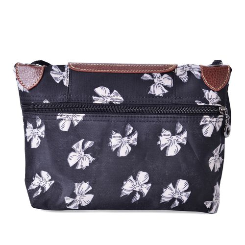Black and White Colour Bow knot Pattern Crossbody Bag with External Zipper Pocket and Shoulder Strap (Size 25x20 Cm)