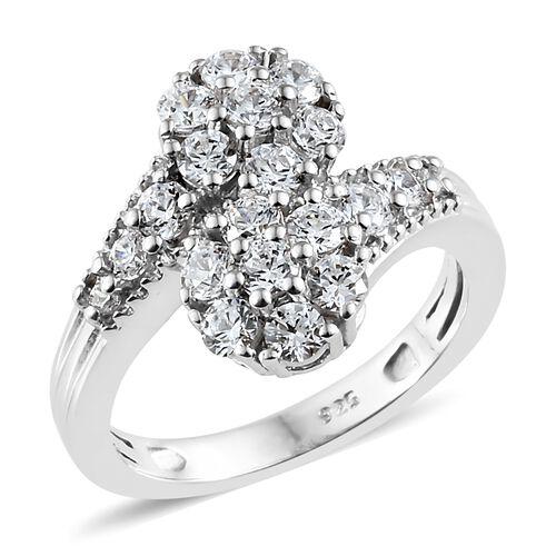 J Francis - Platinum Overlay Sterling Silver (Rnd) Cross Over Ring Made with SWAROVSKI ZIRCONIA