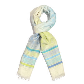 100% Cotton Cream, Blue and Multi Colour Flower and Stripe Pattern Scarf (Size 180x70 Cm)