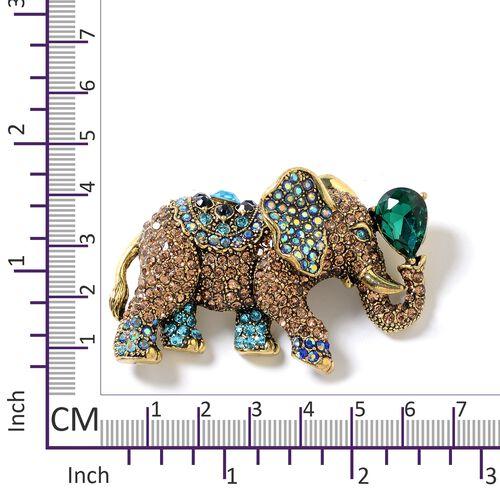 Simulated Emerald (Pear), Multi Colour Austrian Crystal Elephant Brooch in Gold Tone