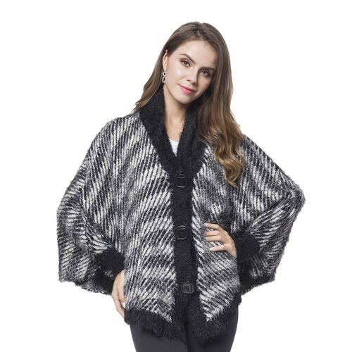Chocolate and White Colour Stripes Pattern Cape (Size 112X80 Cm)