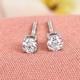 Web Exclusive RHAPSODY 950 Platinum IGI Certified Diamond (VS/E-F) Solitaire Stud Earrings (with Screw Back) 0.20 Ct