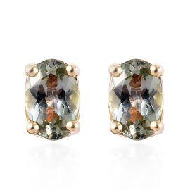 9K Yellow Gold 1 Carat AA Green Tanzanite (Ovl) Stud Earrings (with Push Back)
