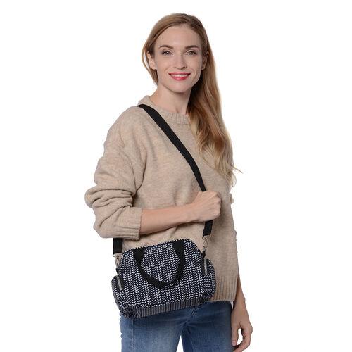 Leaf Pattern Satchel Bag with Zipper Closure and Detachable Adjustable Shoulder Strap (Size 25x10x16cm) - Black, White and Navy
