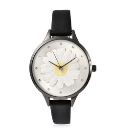 STRADA Japanese Movement Floral White Austrian Crystal Studded Water Resistant Watch with Black Colo