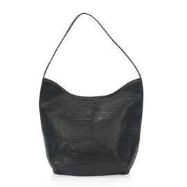 New Season 100% Genuine Leather RFID Secure Black Colour Croc Embossed Hobo Bag (Size 35x27x15 Cm)