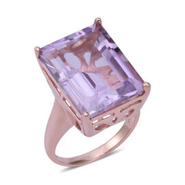 Rose De France Amethyst (Oct 20x15 mm) Ring in Rose Gold Overlay Sterling Silver 21.800 Ct, Silver w
